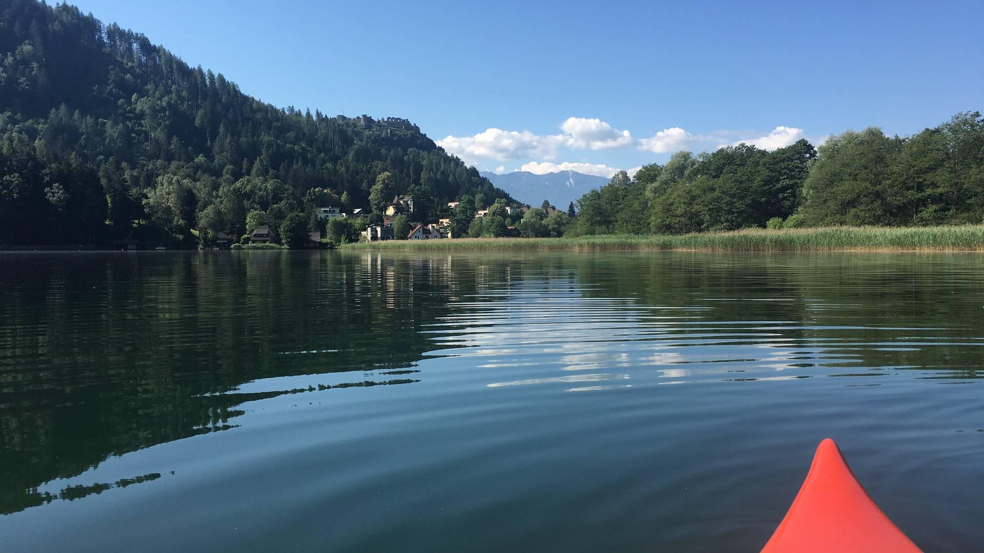 <p>Urlaub im Wohnmobil von Ute Zaworka, Kajaktour am Ossiacher See</p>