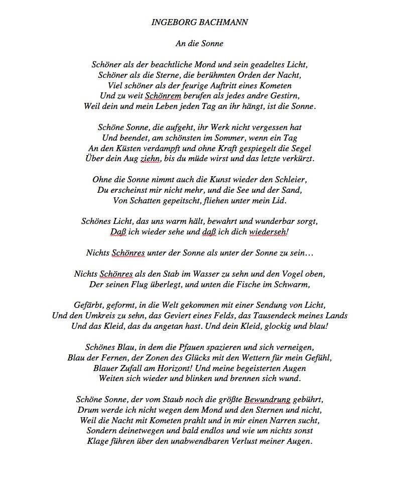 Ingeborg Bachmann Gedicht Sonne